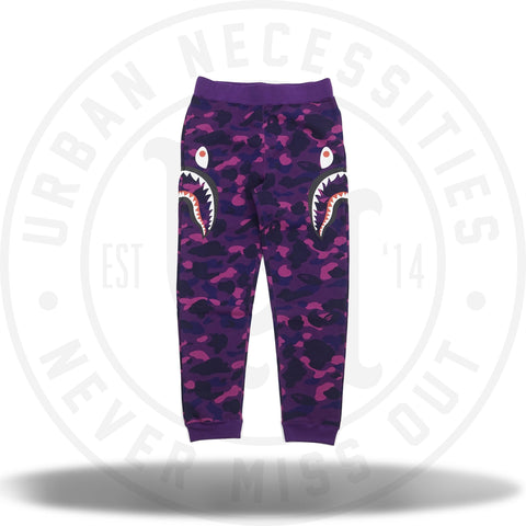 Bape Color Camo Side Shark Slim Sweat Pants Purple-Urban Necessities