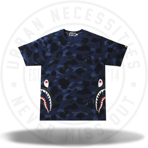 BAPE Color Camo Side Shark Tee Navy-Urban Necessities