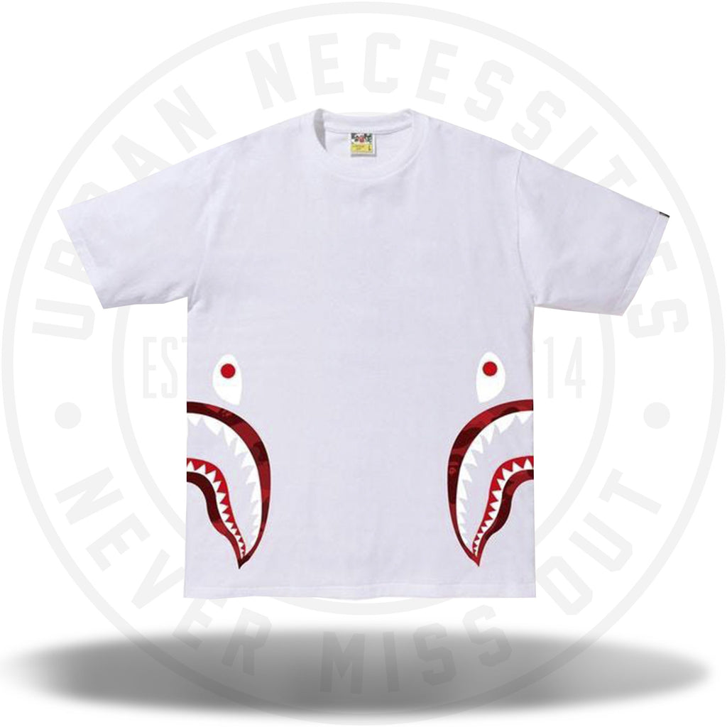 BAPE Color Camo Side Shark Tee White/Red-Urban Necessities