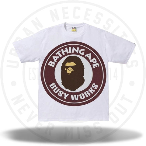 BAPE Colorful Pigment Busy Works Tee White/Burgundy-Urban Necessities