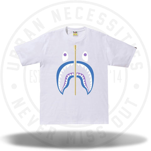 BAPE Colors Gold Zip Shark Tee (SS19) White-Urban Necessities
