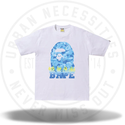 BAPE Fire Camo Bape Flame Tee White/Blue-Urban Necessities