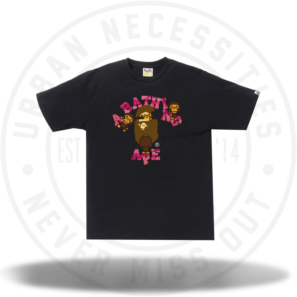 BAPE Fire Camo College Milo Tee Black/Pink-Urban Necessities