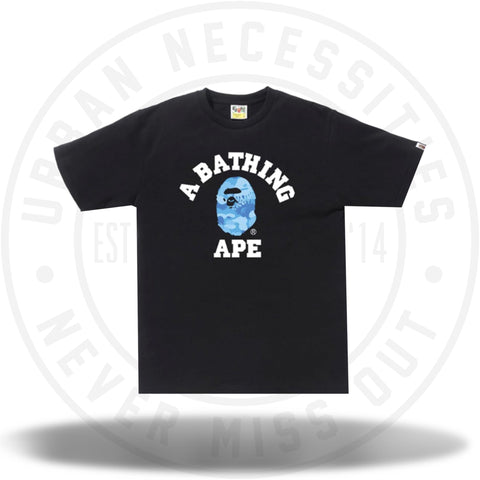 BAPE Fire Camo College Tee Black/Blue-Urban Necessities