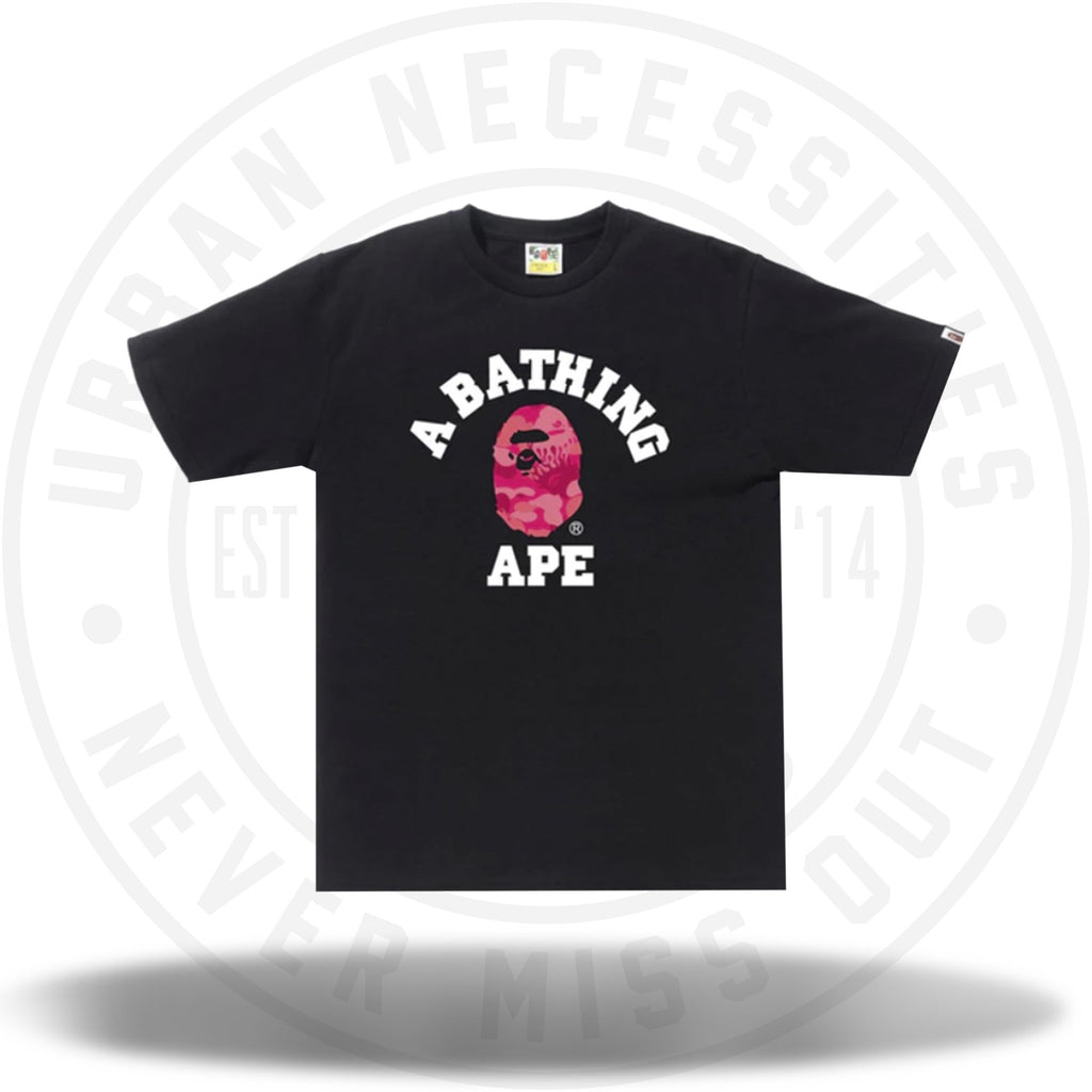 BAPE Fire Camo College Tee Black/Pink-Urban Necessities