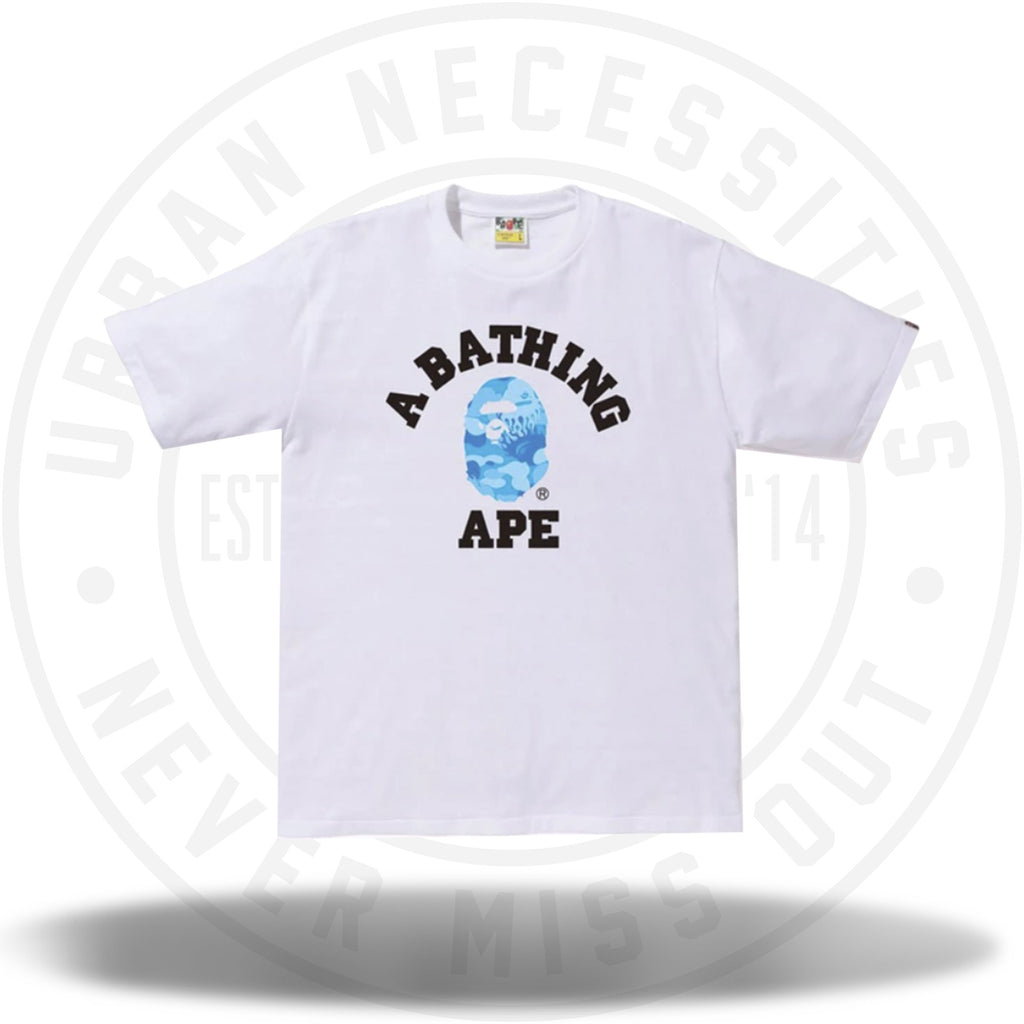 BAPE Fire Camo College Tee White/Blue-Urban Necessities