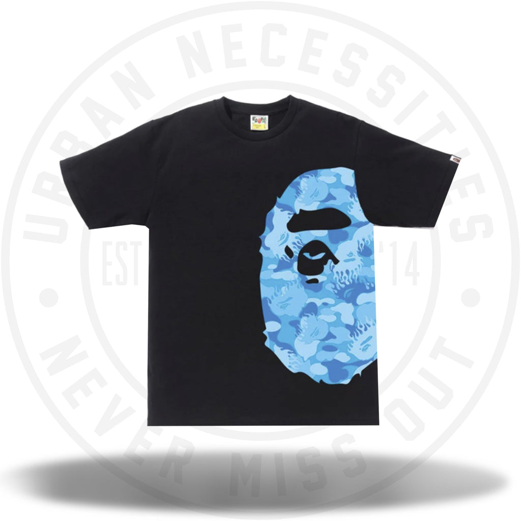 BAPE Fire Camo Side Big Ape Head Tee Black/Blue-Urban Necessities