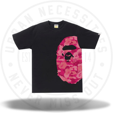 BAPE Fire Camo Side Big Ape Head Tee Black/Pink-Urban Necessities