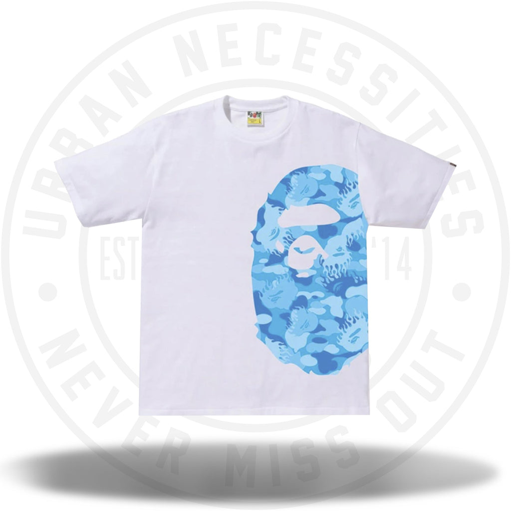 BAPE Fire Camo Side Big Ape Head Tee White/Blue-Urban Necessities