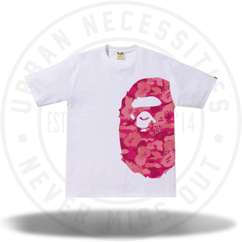BAPE Fire Camo Side Big Ape Head Tee White/Pink-Urban Necessities