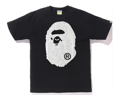 BAPE Foil Neon Camo Big Ape Head Tee Black/Silver-Urban Necessities