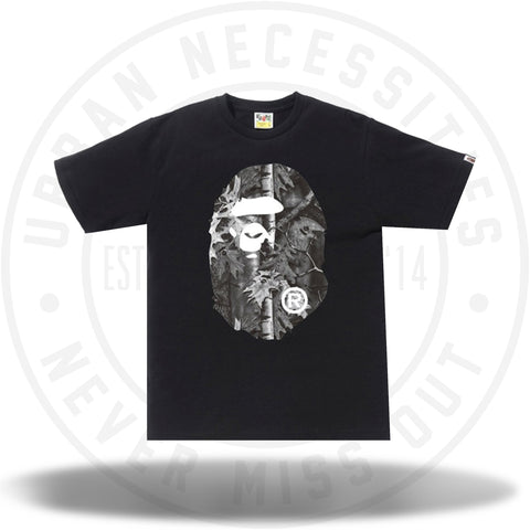 BAPE Forest Camo Big Ape Head Tee Black/Black-Urban Necessities