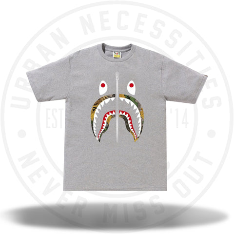 BAPE Forest Camo Shark Tee Grey/Beige-Urban Necessities