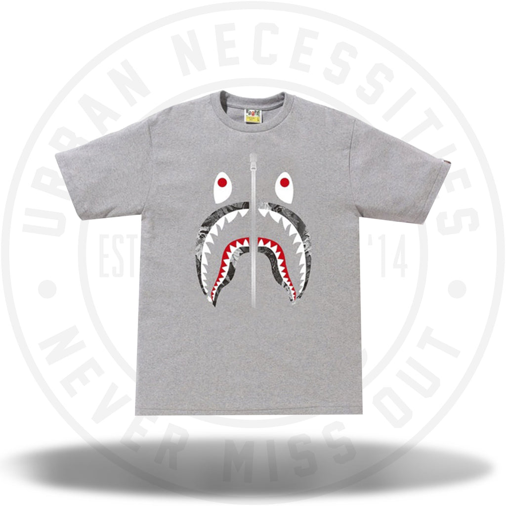 BAPE Forest Camo Shark Tee Grey/Black-Urban Necessities