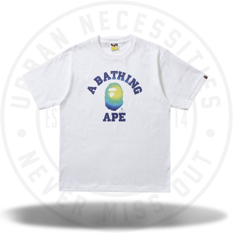 BAPE Glass Beads Gradation College Tee White/Blue-Urban Necessities