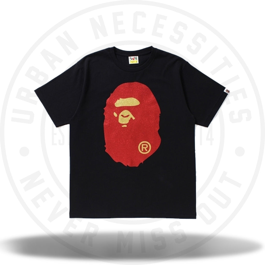 Bape Glitter Big Ape Head Tee Black/Red-Urban Necessities