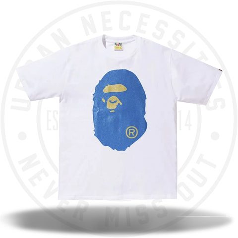 BAPE Glitter Big Ape Head Tee White/Blue-Urban Necessities