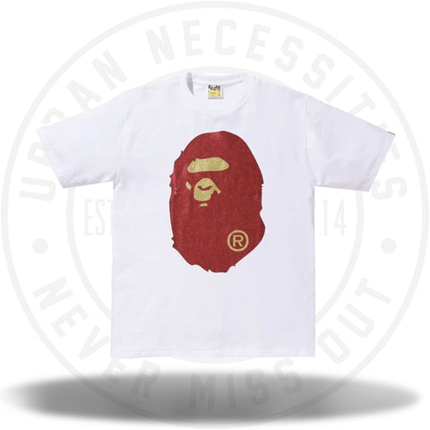 BAPE Glitter Big Ape Head Tee White/Red-Urban Necessities