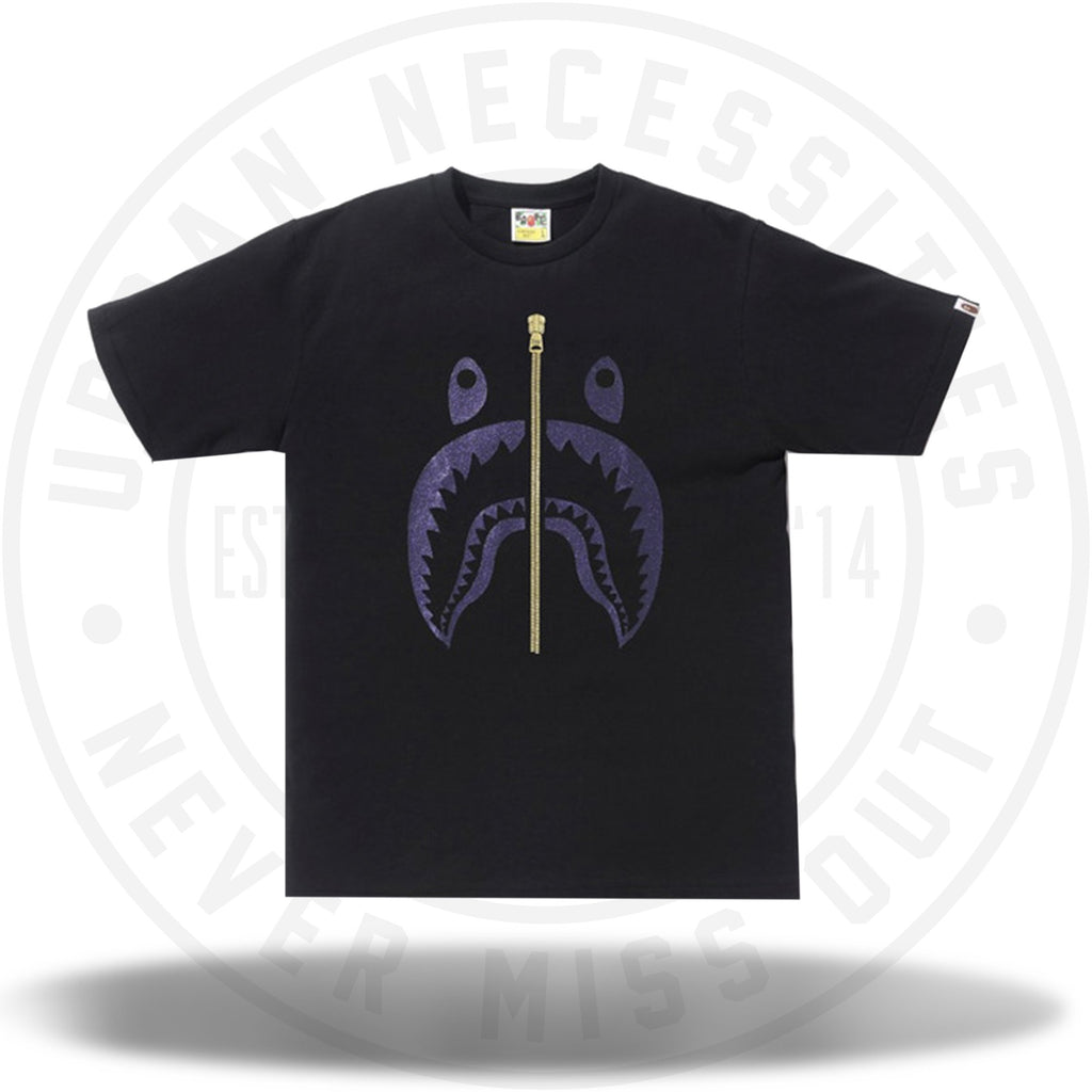 BAPE Glitter Shark Tee Black/Purple-Urban Necessities