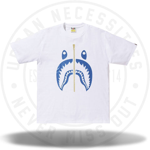 BAPE Glitter Shark Tee White/Blue-Urban Necessities