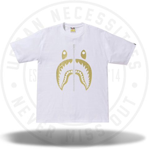 BAPE Glitter Shark Tee White/Gold-Urban Necessities