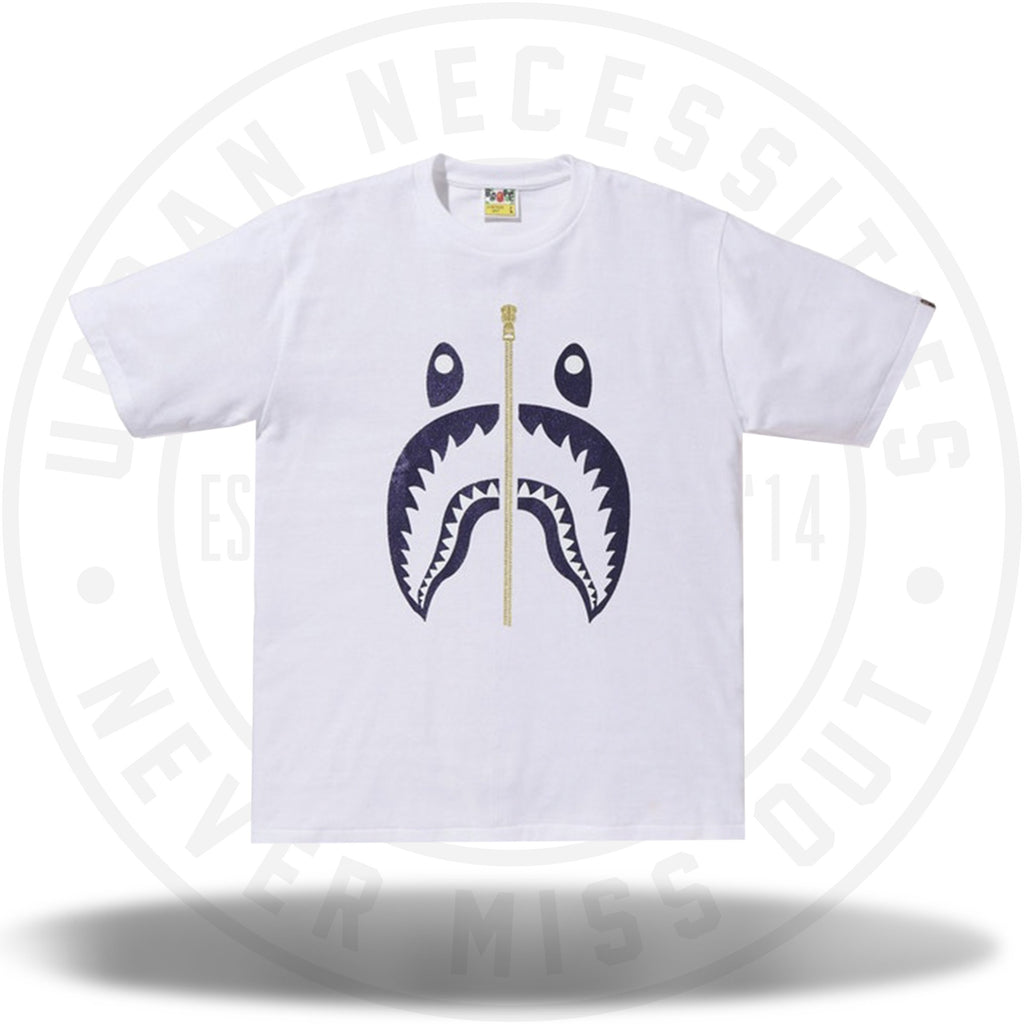 BAPE Glitter Shark Tee White/Purple-Urban Necessities