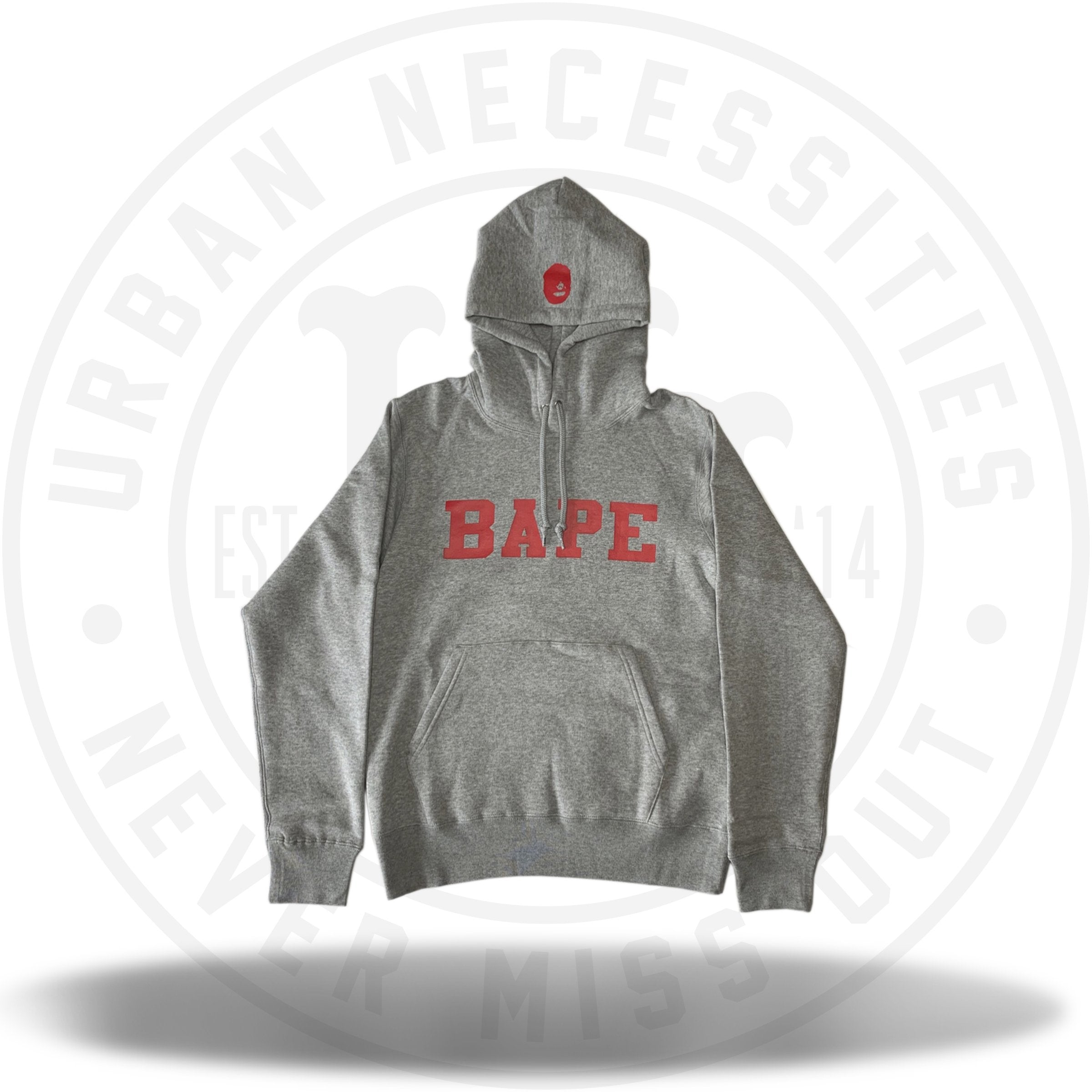 Bape Happy New Year 2019 Spell Out Red Font Hoodie Grey