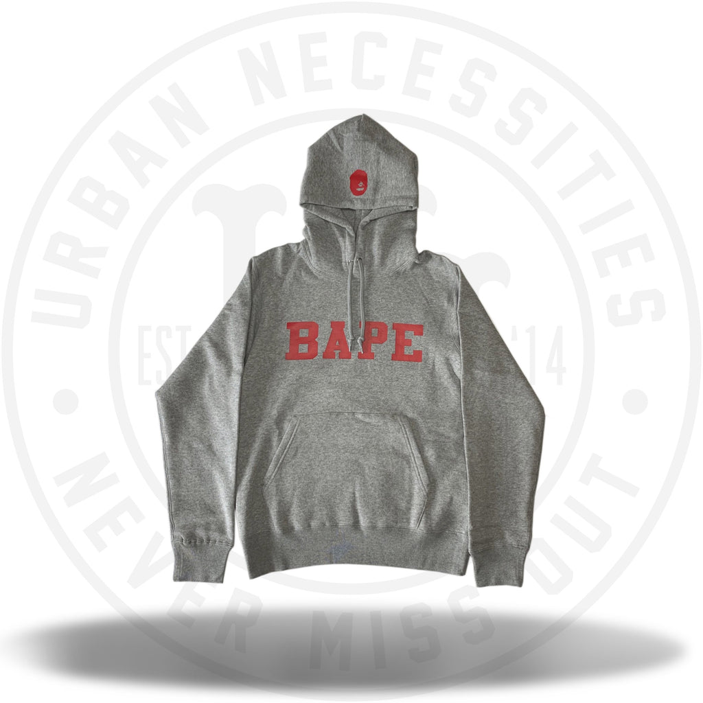 Bape Happy New Year 2019 Spell Out Red Font Hoodie Grey-Urban Necessities
