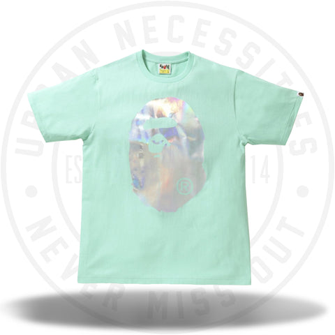 BAPE Hologram Big Ape Head Tee Green-Urban Necessities