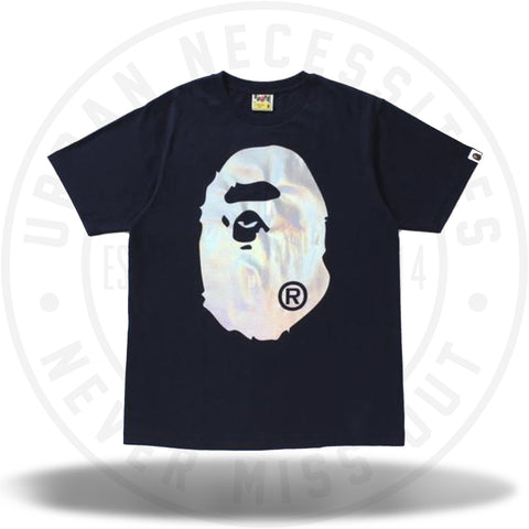 Bape Hologram Big Ape Head Tee Navy-Urban Necessities