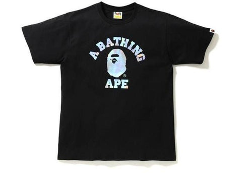 BAPE Hologram College Tee Black-Urban Necessities