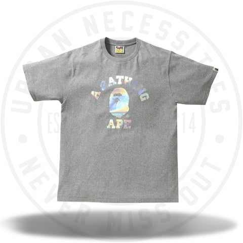 BAPE Hologram College Tee Gray-Urban Necessities