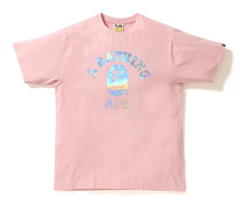 BAPE Hologram College Tee Pink-Urban Necessities