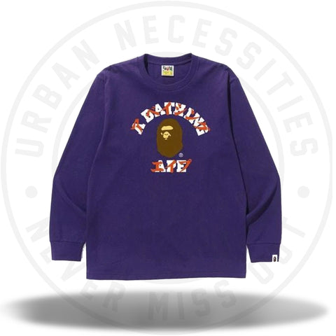 BAPE Katakana College L/S Tee Purple-Urban Necessities