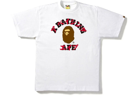 Bape Katakana College Tee White/Brown-Urban Necessities