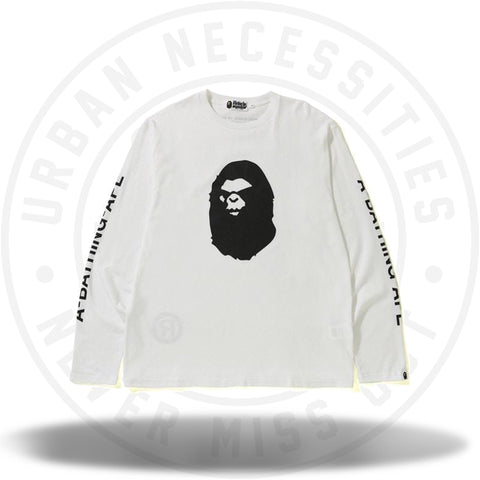 BAPE Mad Face Wide LS Tee White-Urban Necessities