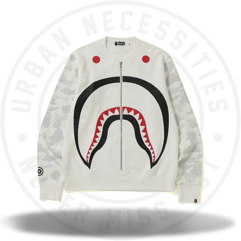 BAPE Metal Zip Big Shark Wide Crewneck White-Urban Necessities