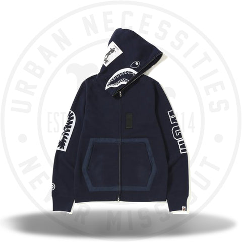 bfdb14ebacde BAPE Military Shark Full Zip Hoodie Navy-Urban Necessities