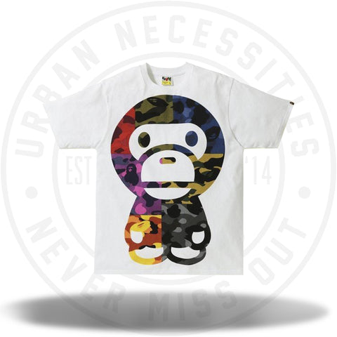 BAPE Mix Camo Big Baby Milo Tee White-Urban Necessities