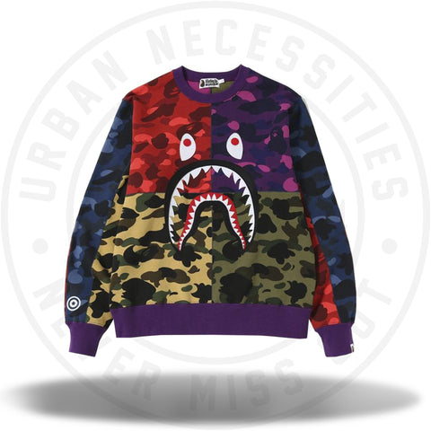 BAPE Mix Camo Shark Crazy Wide Sweat Mens-Urban Necessities