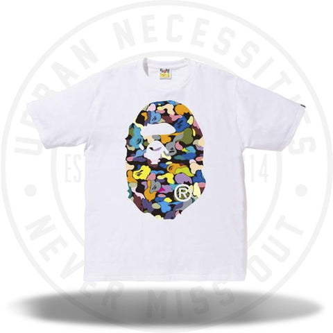 Bape Multi Camo Big Ape Head Tee White/Black-Urban Necessities