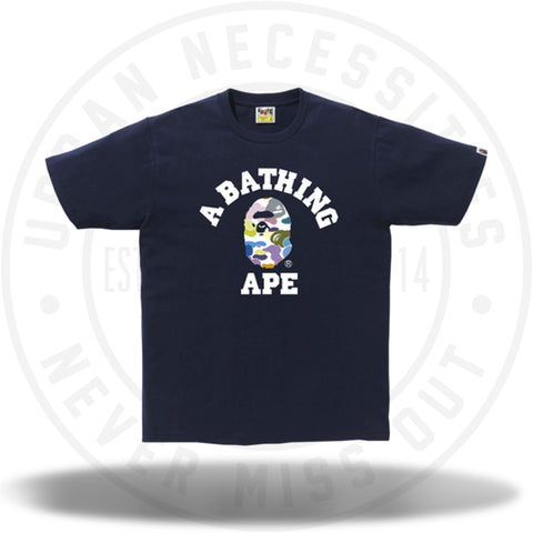 Bape Multi Camo College Tee Navy-Urban Necessities