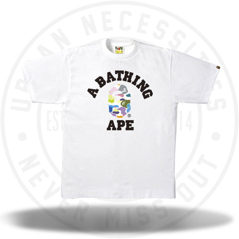 Bape Multi Camo College Tee White/White-Urban Necessities