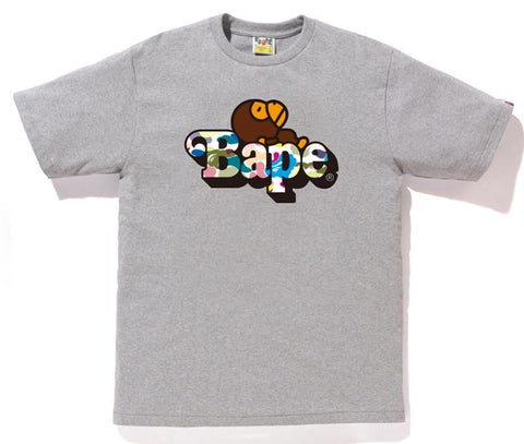 Bape Multi Camo Milo On Bape Tee Grey-Urban Necessities