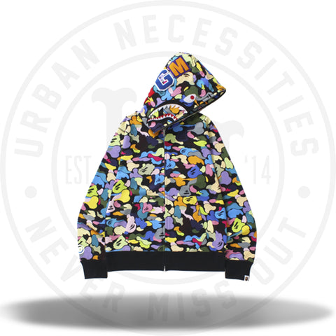Bape Multi Camo Shark Full Zip Hoodie Black-Urban Necessities