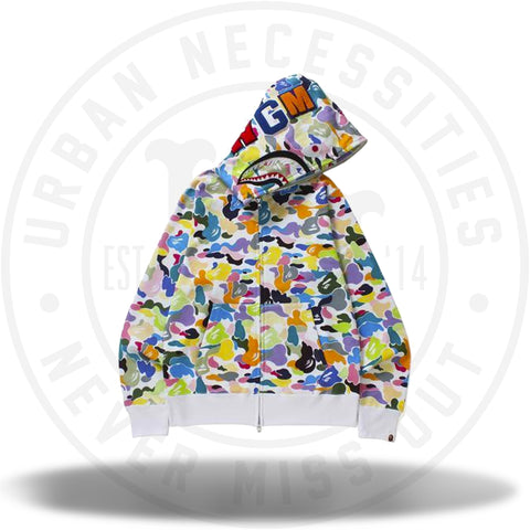 Bape Multi Camo Shark Full Zip Hoodie White-Urban Necessities