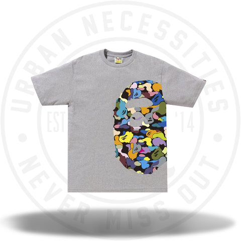 BAPE Multi Camo Side Big Ape Head Tee Grey-Urban Necessities