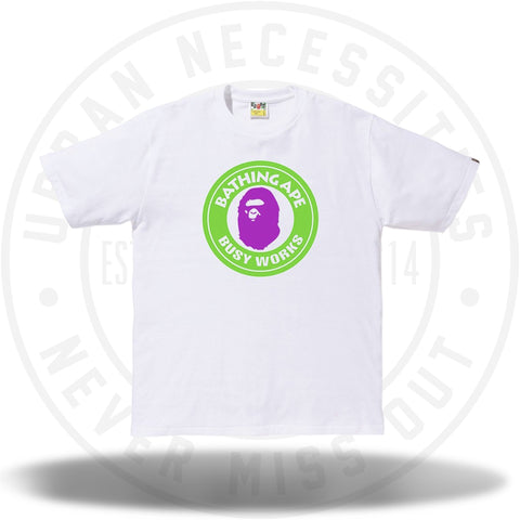 Bape Neon Busy Works Tee White-Urban Necessities