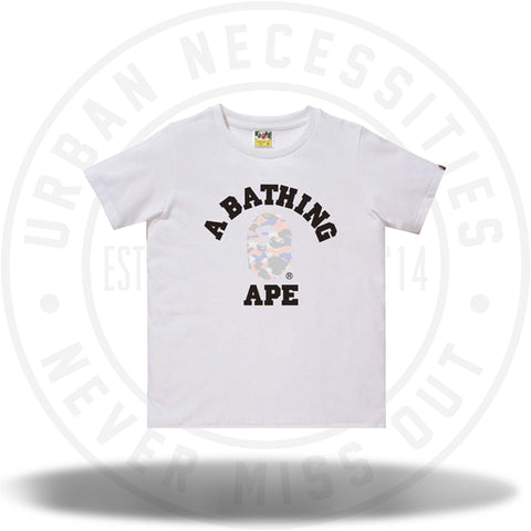 Bape Pastel Multi Camo College Tee Ladies White/Pink-Urban Necessities