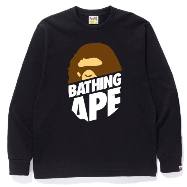 Bape Peek Big Ape L/S Tee Black-Urban Necessities